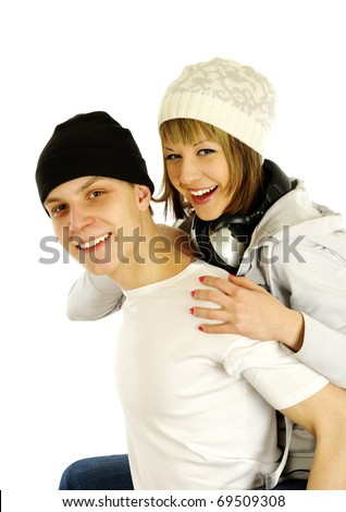Happy young couple. Isolated over white background. - stock photo