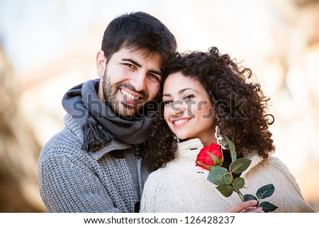 Happy Young Couple on Valentine's Day , Italy - stock photo