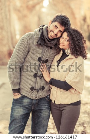 Happy Young Couple Outside, Valentine's Day - stock photo