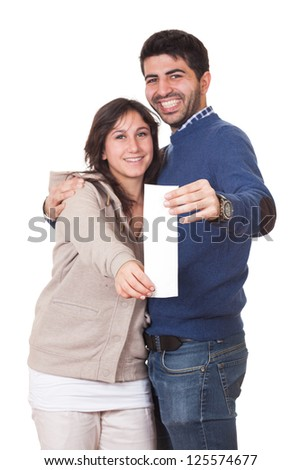 Happy Young Couple with Shopping Bill - stock photo