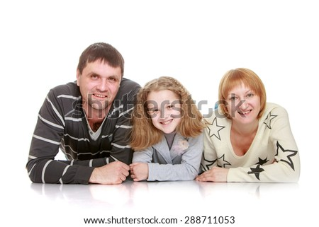 Happy young family mom dad and daughter teen , close-up-Isolated on white background - stock photo