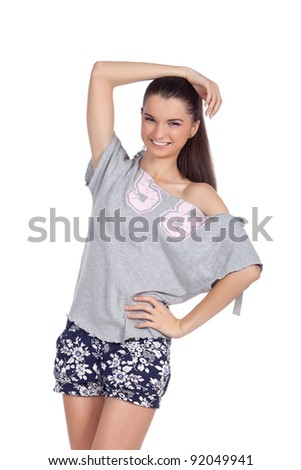 Happy young fashion model smiling and looking at the camera. High resolution image taken in studio. Isolated on pure white background with copy space for your ad. - stock photo
