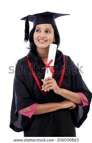 Happy young female student holding diploma against white background - stock photo