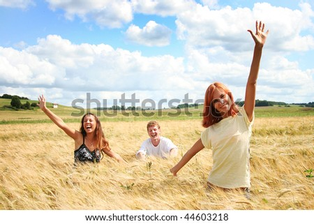 happy young friends having fun outdoors - stock photo
