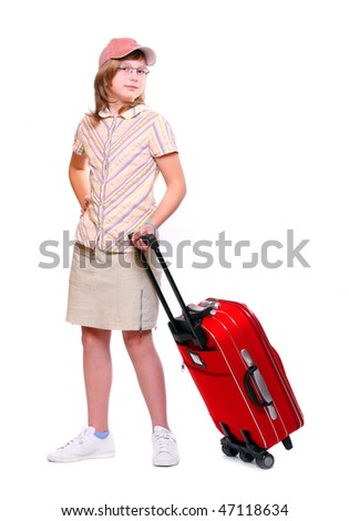 Happy young girl going on vacation with red suitcase over a white background - stock photo