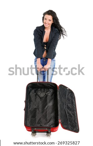 Happy young girl going on vacations with blank suitcase - stock photo