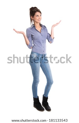 Happy young girl in full body length is amazed about news. - stock photo