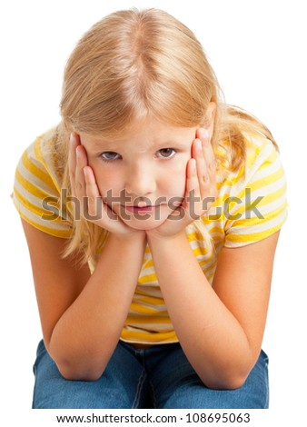Happy young girl in yellow shirt isolated on white background - stock photo