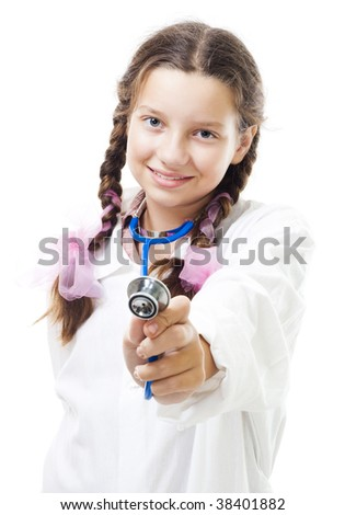 Happy young girl play doctor holding stethoscope,isolated on white - stock photo