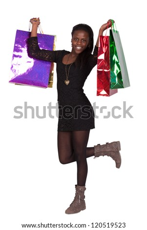 happy young girl shopping - stock photo