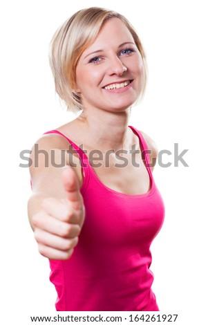 Happy young girl smiles - stock photo