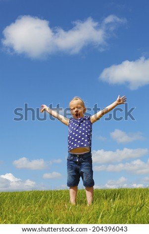 Happy young girl standing in a meadow - stock photo
