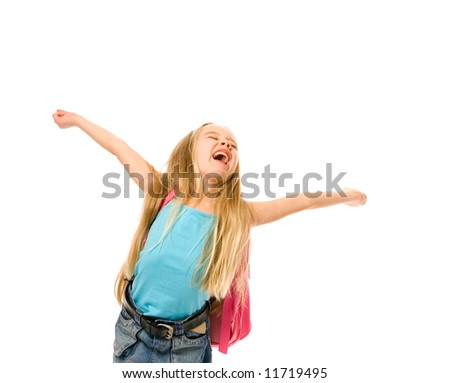 Happy young girl with a pink backpack - stock photo