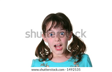 Happy Young Girl With Surprised Look on Her Face - stock photo
