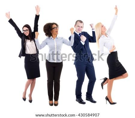 happy young group of business people celebrating something isolated on white background - stock photo