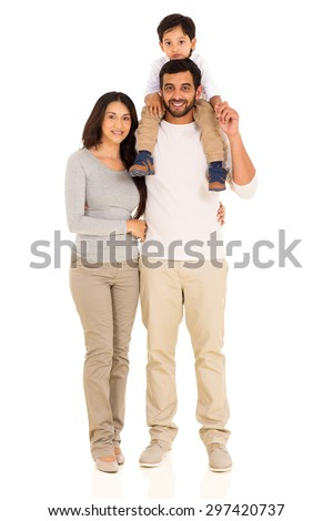 happy young indian family isolated on white background - stock photo