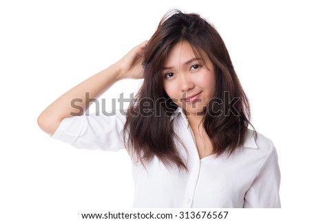 Happy young lazy asian woman with positive emotion ...