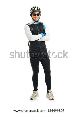 Happy Young Male Cyclist Isolated On White Background - stock photo