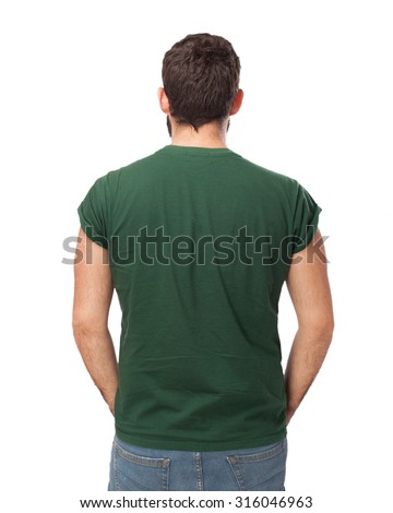 happy young man back - stock photo