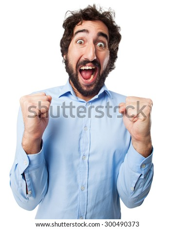 happy young man celebrating sign - stock photo