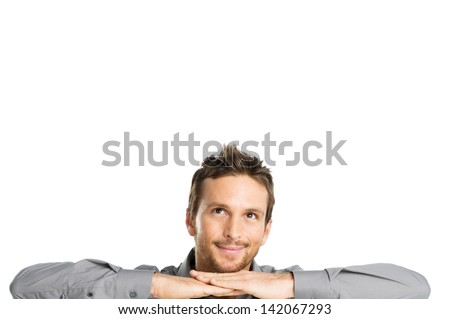 Happy Young Man Contemplating Isolated On White Background - stock photo