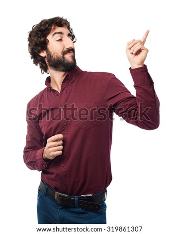 happy young man dancing - stock photo