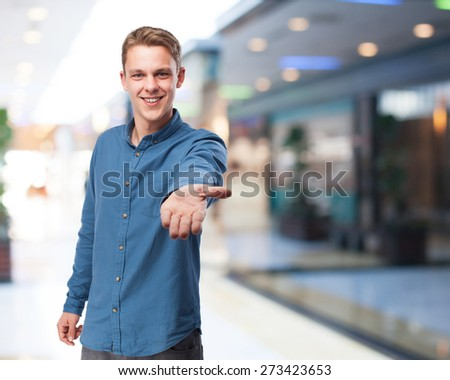 happy young-man help sign - stock photo