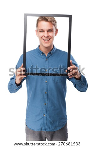happy young-man  holding a black frame - stock photo
