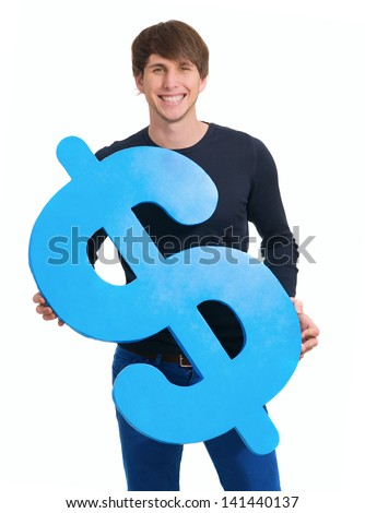 Happy Young Man Holding Dollar Sign Over White Background - stock photo