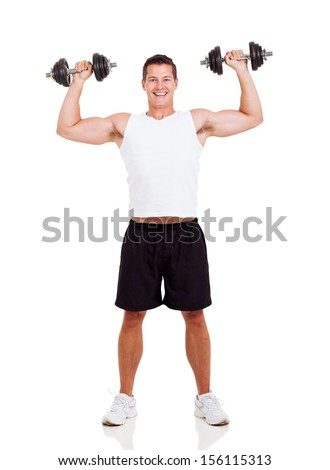 happy young man lifting dumbbells on white background - stock photo