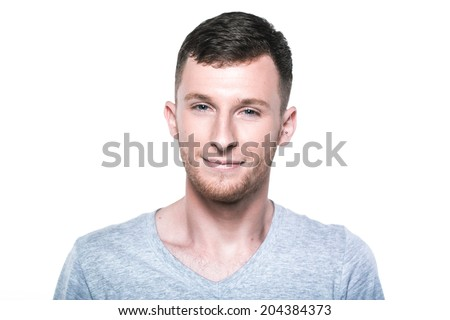 Happy young man on white - stock photo