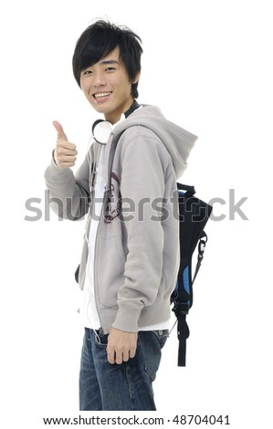 Happy young man standing with bag, - stock photo