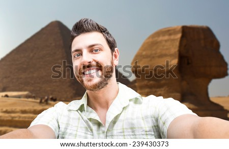 Happy young man taking a selfie photo in Cairo, Egypt - stock photo