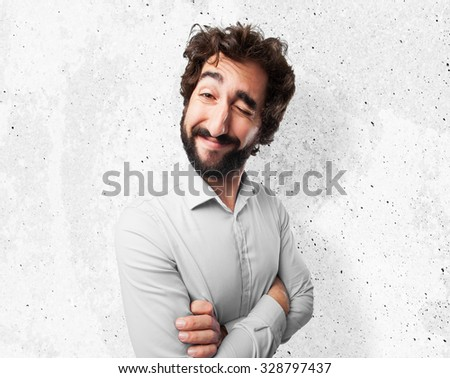 happy young man wink sign - stock photo