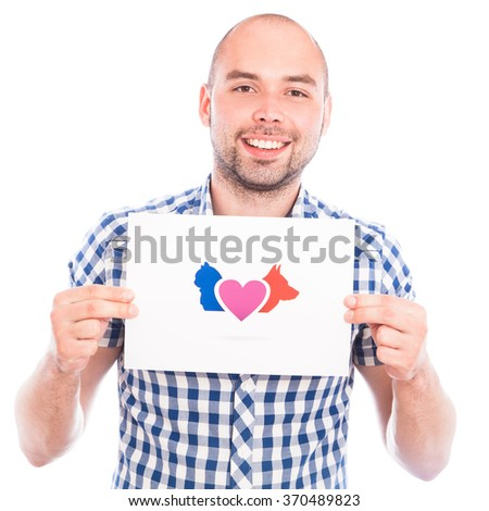Happy young man with love animals sign - stock photo