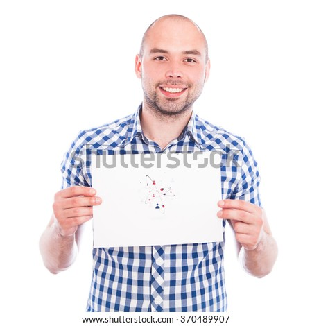 Happy young man with sign of human connection icon - stock photo