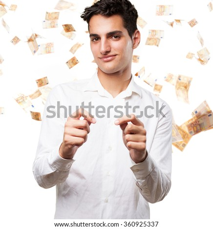 happy young man with visit card - stock photo