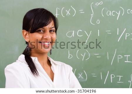 happy young math teacher - stock photo