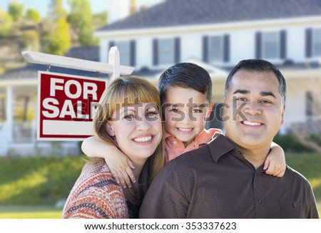 Happy Young Mixed Race Family in Front of For Sale Real Estate Sign and New House. - stock photo