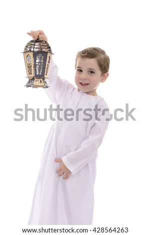 Happy Young Muslim Boy With Wooden Lantern Isolated on White Background - stock photo