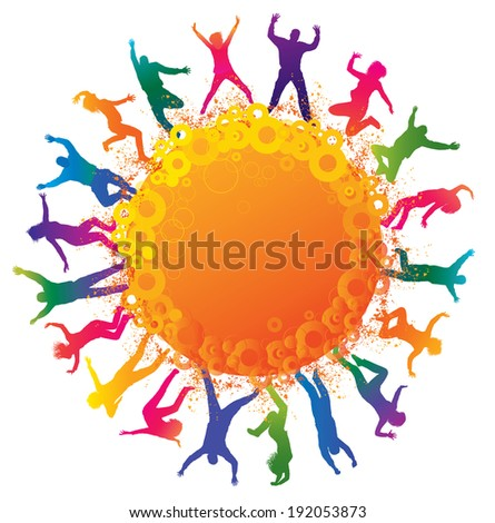 Happy young people. Detailed silhouettes of dancing teenagers. Concept background.  - stock photo