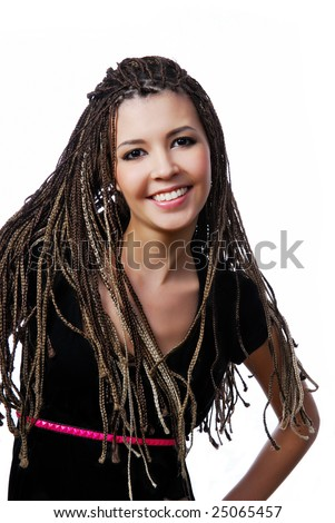 Happy young pretty girl with beauty dreadlocks - stock photo