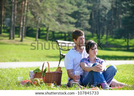 happy young romantic couple in love   having a picnic outdoor on a summer day - stock photo
