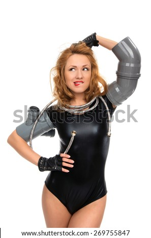 Happy young sexy woman plumber contructor worker standing with construction sewer soilpipe drain fittings and water hose isolated on a white background - stock photo