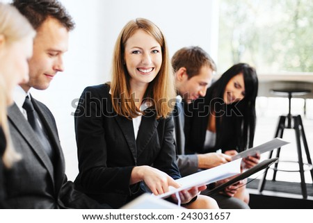 Happy young student befor exam - stock photo