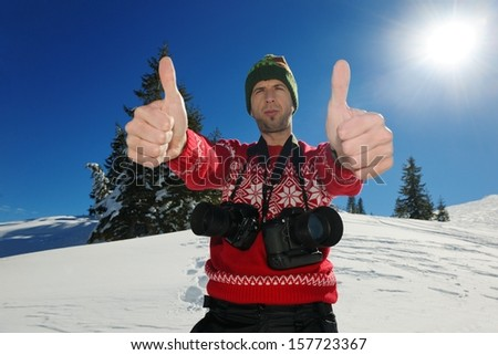 happy young woman having fun at winter nature landscape with fresh snow - stock photo