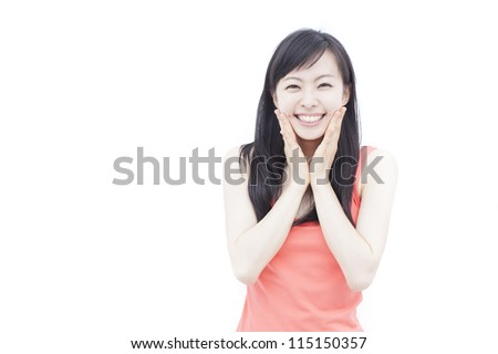 happy young woman isolated on white background - stock photo