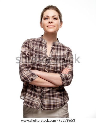 Happy young woman portrait white background isolated. Casual female person. - stock photo
