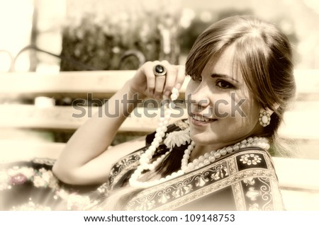 Happy young woman. summer - stock photo
