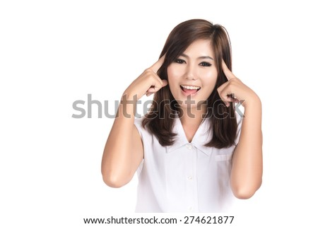 Happy young woman thinking  with blank copyspace area for text or slogan,Closeup portrait of beautiful Asian woman,Thai girl,Positive human emotion facial expression,isolated on white background - stock photo